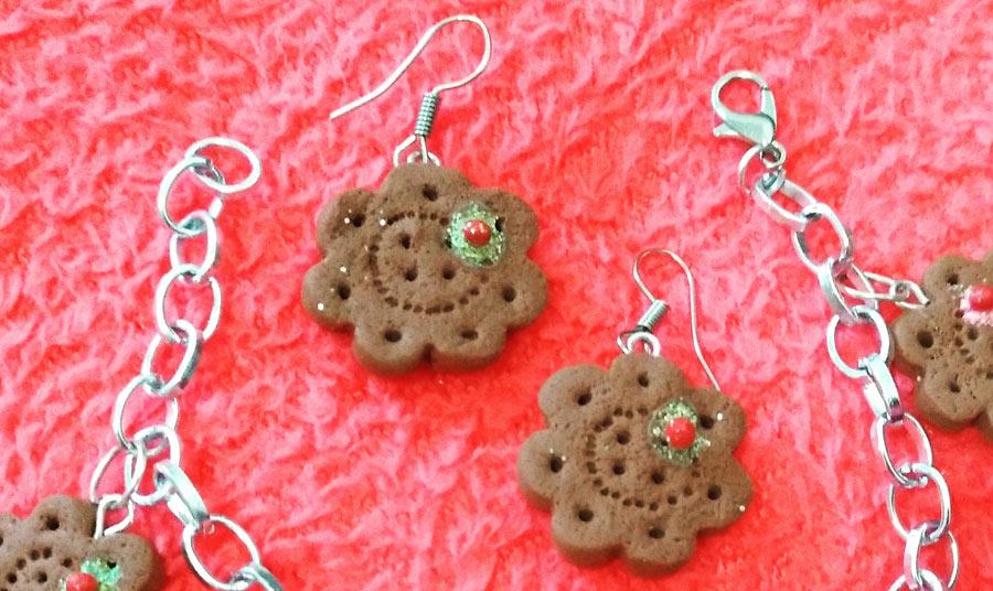 Pendientes de galleta con guindas
