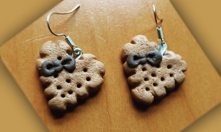 Pendientes cookie-heart de chocolate