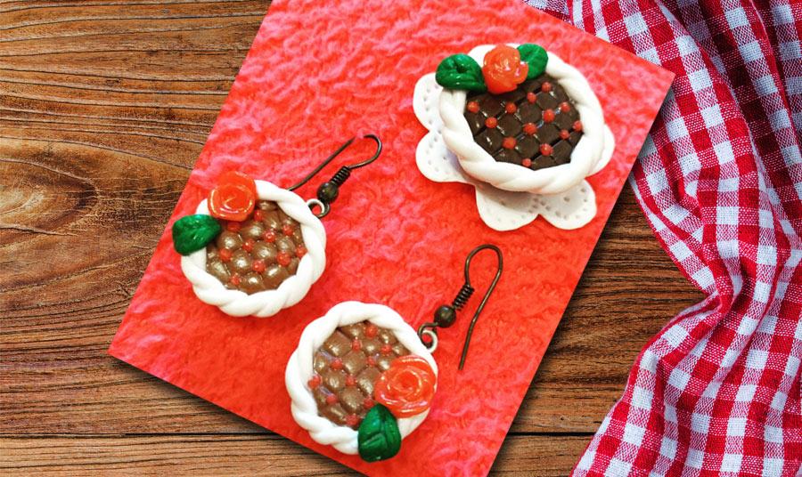 Pendientes cherry-cake con nata