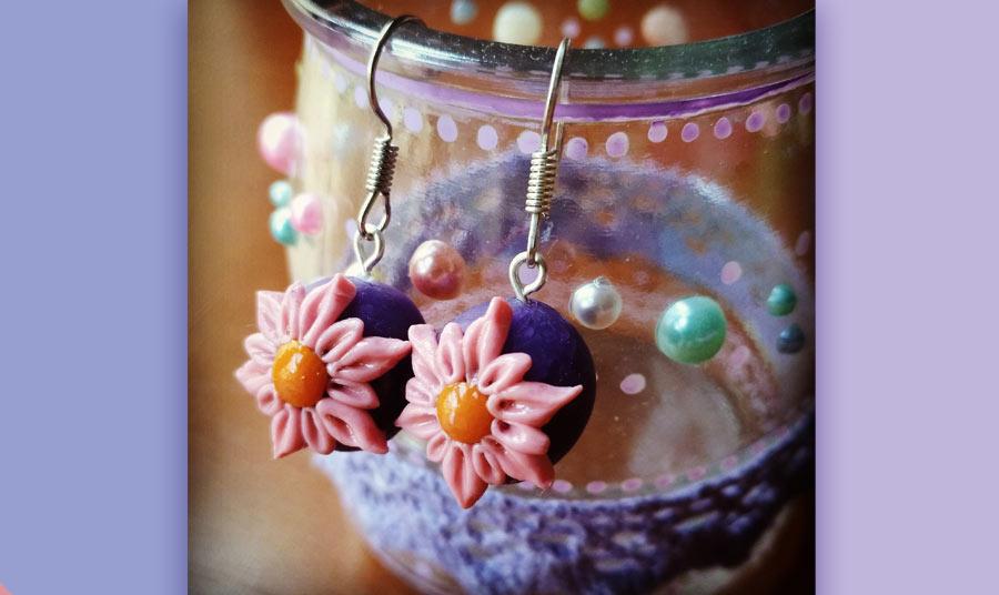 Pendientes esfera de flores silvestres