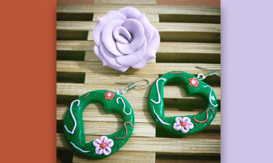 Set corazones verdes con rosa