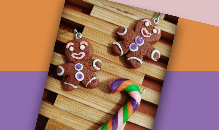 Pendientes gingerbread / candycane